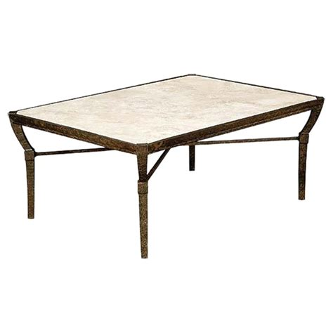 Jane Modern French Stone Top Metal Outdoor Coffee Table Coffee Table Outdoor