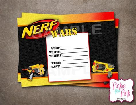 Instant Download Nerf Wars Invitation Birthday Party Digital File Download Nerf Gun Birthday Nerf Invitation Template Free