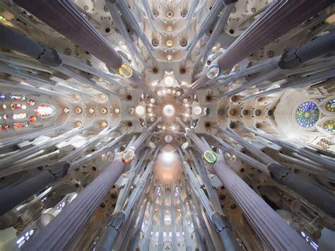 Church of the Sagrada Familia interior in Barcelona