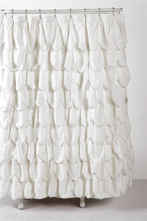 ruffle shower curtains stitched scallop ruffle shower curtain urban outfitters