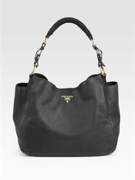 Prada Vitello Daino Mini Hobo Purse by Lyst Prada Vitello Daino Hobo Bag In Black
