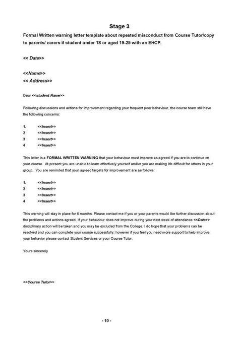 writing behavior warning letters