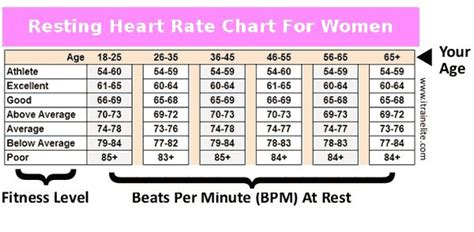 womens resting heart rate chart determine  fitness