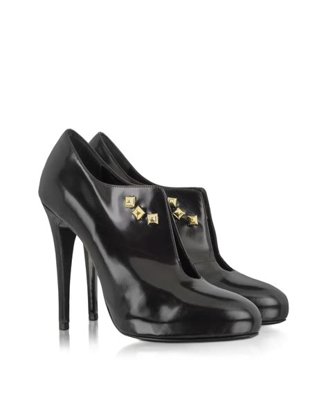 patrizia pepe black patent leather heeled womens shoes in