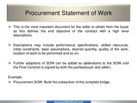 procurement statement of work template pmp material for pmp procurement