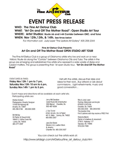 press release template for event magazine october 2010