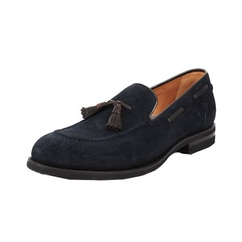 loafers suede brunello cucinelli mens suede tassel loafer in blue for