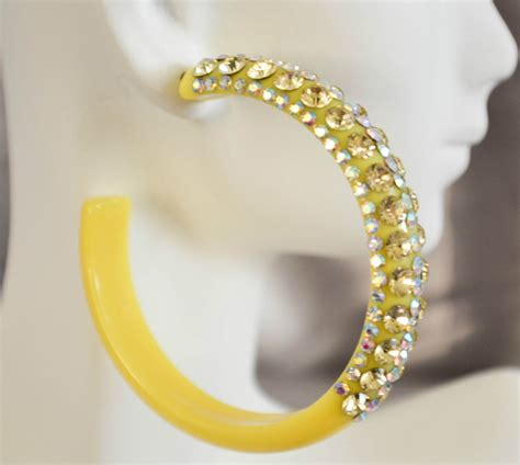 Fashion Earrings E21256 Yellow 2 5 quot yellow rhinestones fashion pageant bling hoop earrings ebay