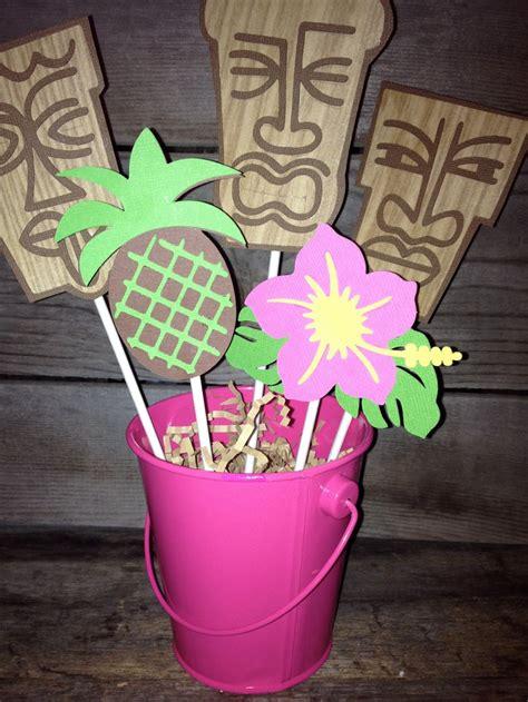 luau aloha themed centerpiece ready to ship today tiki man pineapple hibiscus flower pink yellow