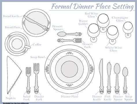 setting a table place setting template for seven course meal food
