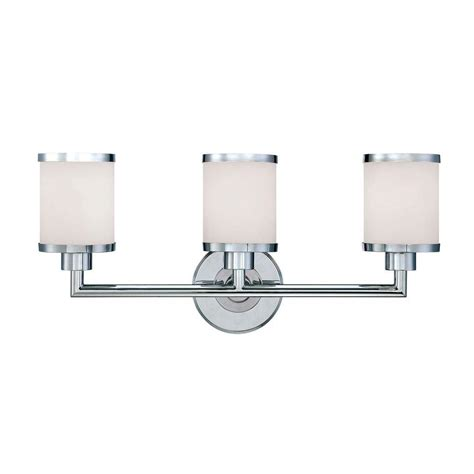 Glass Vanity Light Millennium Lighting 3 Light Chrome Vanity Light With Etched White Glass 223 Ch The Home Depot