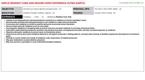 Resident Care Assistant by Resident Care Assistant Resume 28 Images Residential Care Assistant Resume Sales Assistant