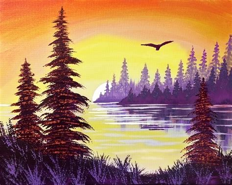 paint nite zukey lake paint nite lake sunset