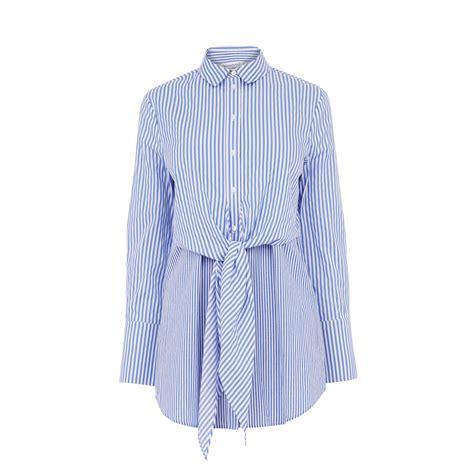 21478 Blue Stripe Smlxl Blouse tie front stripe shirt warehouse