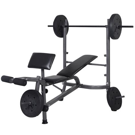 bench barbell convenienceboutique weight lifting fitness bench with barbell and weights
