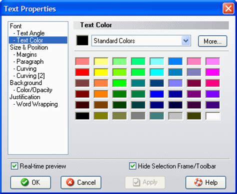 text properties dialog quot text color quot page acoustica