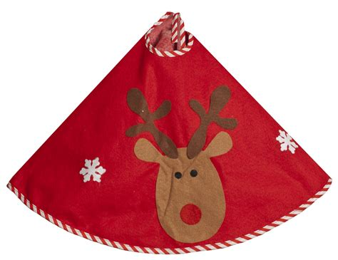 christmas tree skirt red with cute reindeer design fabric