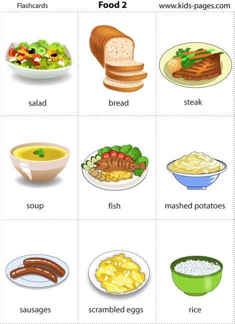 Free Printable Food Flashcards