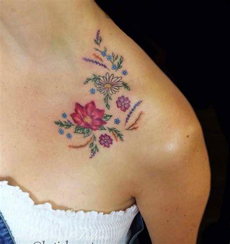 tattoo flower collarbone 50 enchanting flower tattoos for fall tattooblend