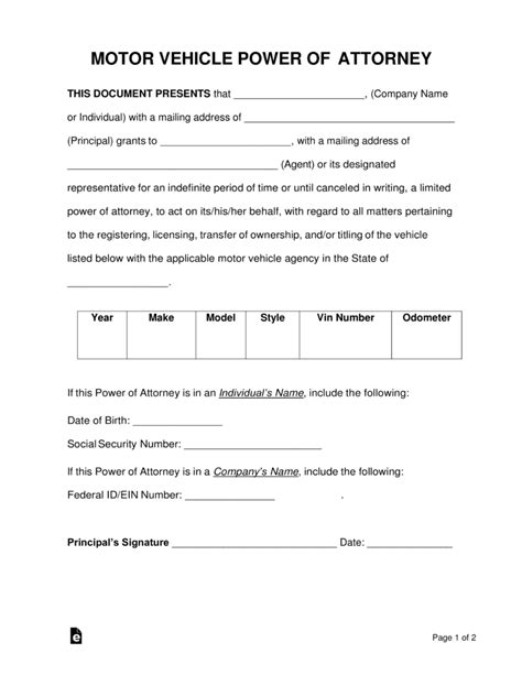 Free Motor Vehicle Power Of Attorney Forms Pdf Word Eforms Free Fillable Forms Power Of Attorney To Sell A Car Template
