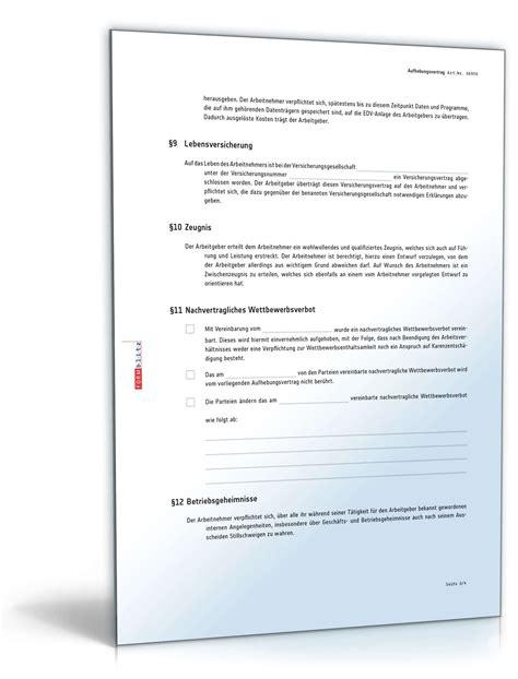 Muster Aufhebungsvertrag Schweiz aufhebungsvertrag f 252 r ein arbeitsverh 228 ltnis muster zum