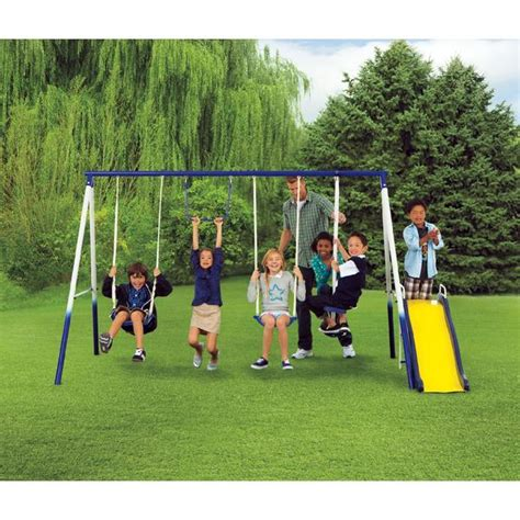 Metal Swing Sets - traditional metal swing set keep your active with kmart