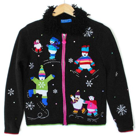 Sweater Skaters shaggy collar skating snowmen tacky sweater the sweater shop