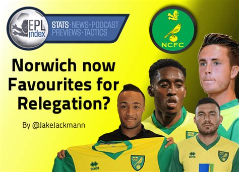 epl relegation are norwich now favourites for relegation epl index