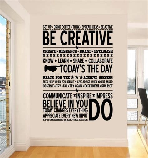 inspirational quotes decor for the home inspiring decor for the office be creative wall sticker