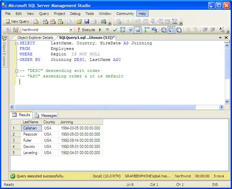 sql query exles tutorial exles order by multiple columns mssql server tutorial