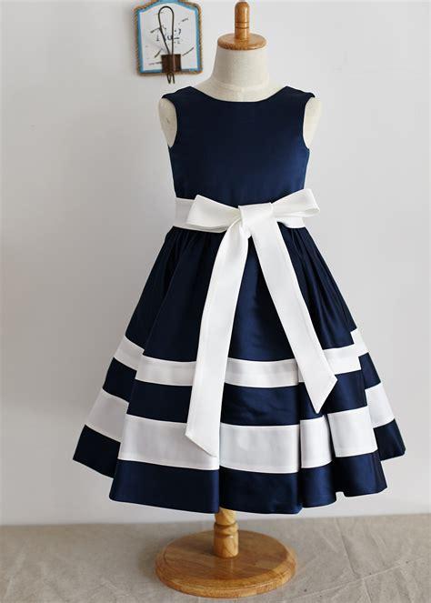 A Line Navy Blue Ivory Satin Stripesower Dress