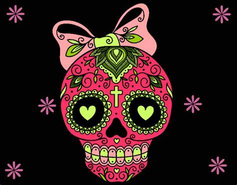 fotos de calaveras kawaii dibujo de calavera mexicana con lazo pintado por