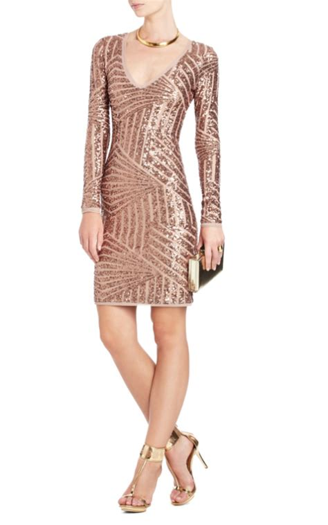 Cheap BCBG MORRIS SEQUINED DRESS ROSE GOLD Long Sleeves   prom dresses on sale