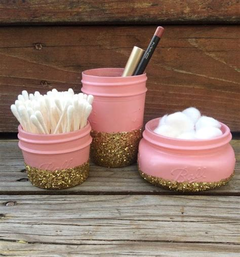 cotton ball jar bathroom 17 best ideas about glittered mason jars on pinterest