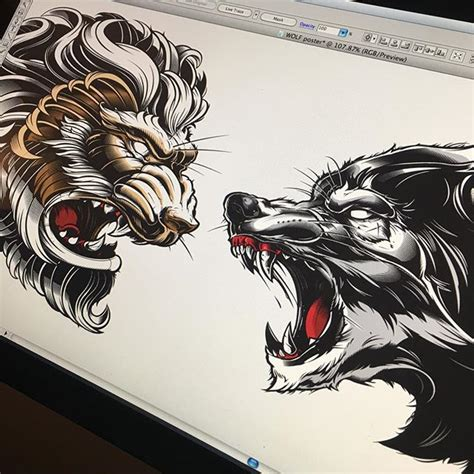 lion vs wolf tattoo www pixshark com images galleries