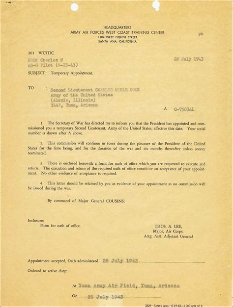 army cor appointment letter army cor appointment letter 28 images army senior