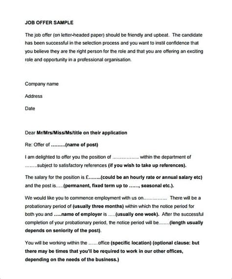 House Offer Letter Exle Uk 30 Offer Letter What To Write In The Document