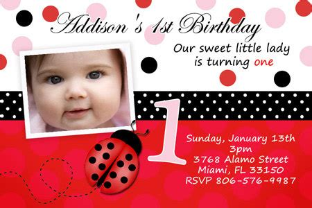 1st Birthday Invitation Card For Baby Lady Bug Birthday Party Invitation Photo Printable