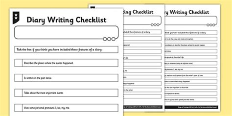 diary planning template ks2 diary writing checklist differentiated diary checklist
