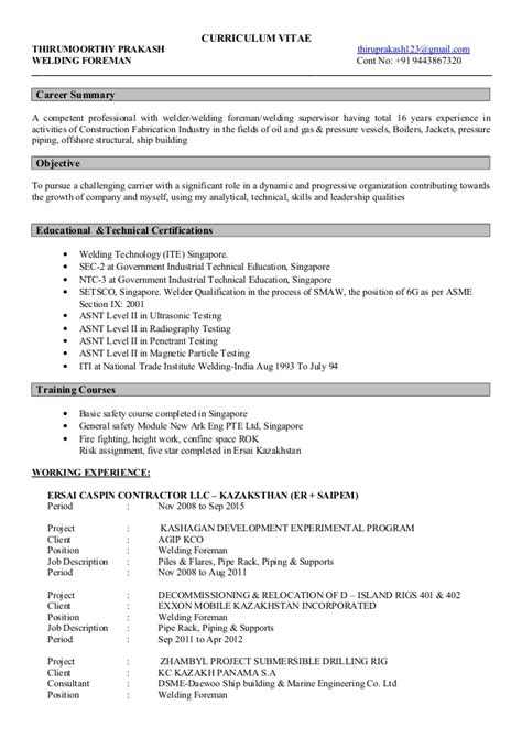 Foreman Resume Sle by Description Of A Welder 28 Images Welders Resume