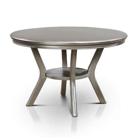 Silver Kitchen Table by Furniture Of America Deedra Dining Table In Silver