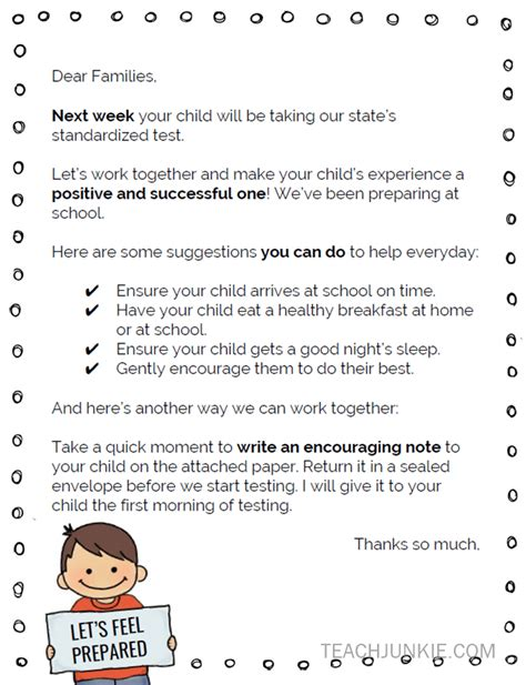 Parent Letter Regarding Testing Standardized Testing Parent Letter Freebie Teach Junkie