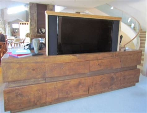 tv stand in middle of room furniture custom made rustic log tv cabinet entertainment