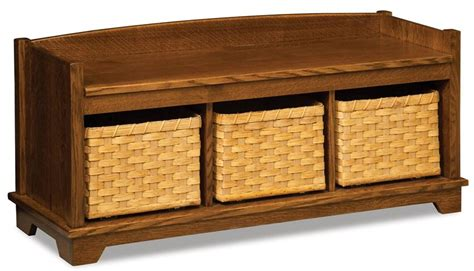 amish storage bench amish lattice weave storage bench with baskets