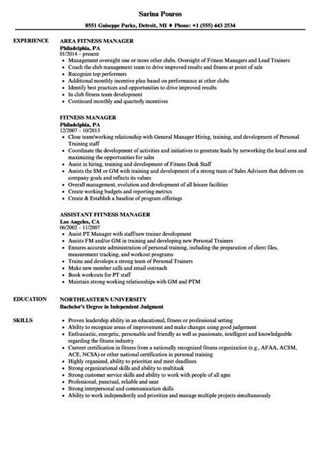 sle resume for fitness manager position fitness manager resume sles velvet