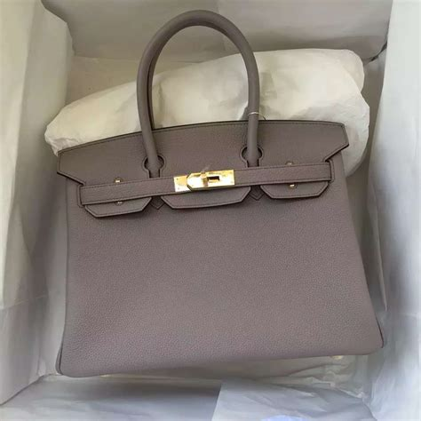 Hermes Togo Grey stitching hermes light etain grey togo leather birkin