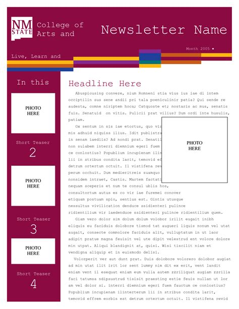 newsletter template word word newsletter template lisamaurodesign