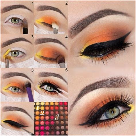 Orange Makeup Tutorial | yellow and orange eye makeup tutorial