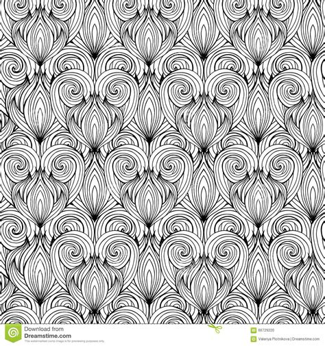 white hair pattern seamless texture with black and white doodle hearts stock