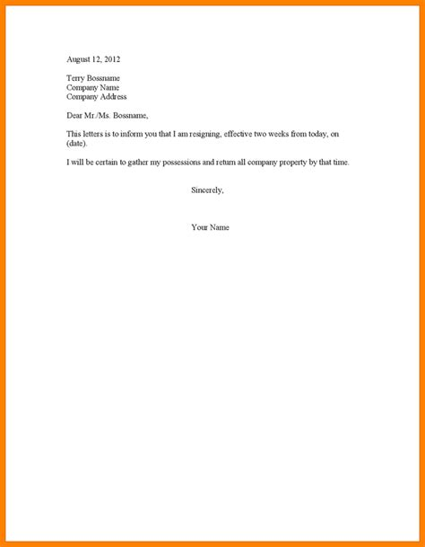 2 week notice letter template two week resignation letter sle